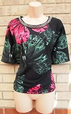NEXT BLACK GREEN PINK BUTTERFLY BEADED COLLAR BAGGY OVERSIZED TOP BLOUSE 12 M