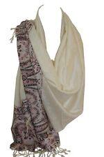 Pashmina Feel Wrap Self Embossed Paisley Print Vivid Border Scarf Shawl Hijab