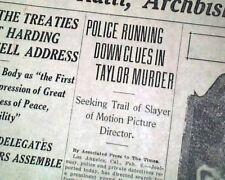 WILLIAM DESMOND TAYLOR Actor and Director Shot Dead MURDERED 1922 Old Newspaper