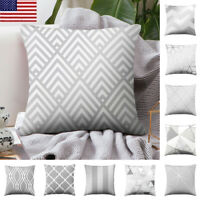 Modern Geometric Silver Grey Pillow Case Cushion Cover Home Sofa Office Decorate