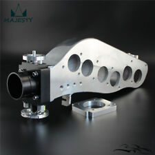 Polished Intake Manifold + 65mm Throttle Body For Skyline RB20DET R32 GTS Black