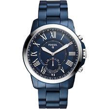 Fossil FTW1140 Herren Hybrid Smartwatch Q Grant Edelstahl Blau Quarz Android IOS