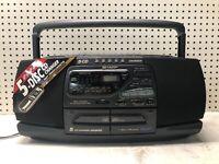 MINT Sharp WQ-CH1600 Portable Dual Cassette 5 Disc CD Changer BOOMBOX COOL *RARE