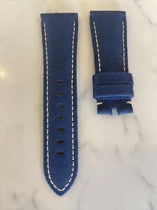 Panerai OEM 26MM Blue Nylon Strap W White Stitch 26/22MM for Tang