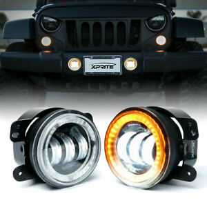 "4"" 60W CREE LED Fog Lights w/ Yellow DRL Halo Angel Ring for Jeep JK/JL/JT Dodge"