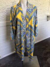 "Ladies ""Lovely Girl"" Yellow/Blue Paisley Pattern Kimono Cape/Cardigan Size S/M"