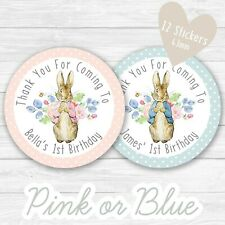Personalised Peter Rabbit Party Stickers Round Labels Thank You Sweet Cones Bags