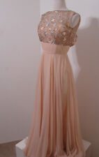 Vintage Gown Pink Chiffon Silk Beaded Sleeveless Lined S