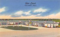 Watonga Oklahoma~Star Court Motel~Art Deco Sign~Roadside Hwy 33~1950 Linen PC