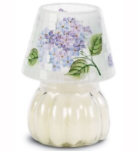 """PURPLE MOSAIC FLORAL GLASS CANDLE JAR SHADE 6"""" x 5"""" HOMCO #11492 NEW IN BOX"""