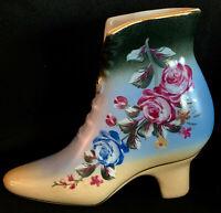 Vintage Porcelain Shoe Boot Collectors High Heeled Blue w/ Purple & Blue Flowers
