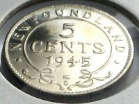 1945 Newfoundland Canada Five 5 Cent Small George VI Whizzed Coin K977