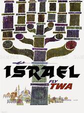 TRAVEL TOURISM ISRAEL TWA MENORAH JERUSALEM AIRLINE VACATION AD POSTER 2404PYLV