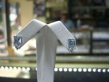FINE WOMENS  EARRINGS DIAMOND AND AQUAMARINE 14 KARAT WHITE GOLD STUD NEW WOW!!!