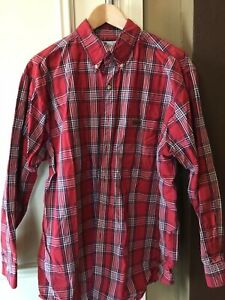 Carhartt Men's Plaid Red Classic Size Adult Large Long Sleeve Button Up Shirt