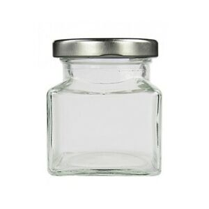 150 Mini Square Food Glass Jars 50ml With Silver Lids-Bulk Discount Offer