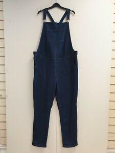 WOMENS TU MATERNITY BLUE STRAIGHT LEG STRETCH DENIM DUNGAREES UK 20 W46 L32