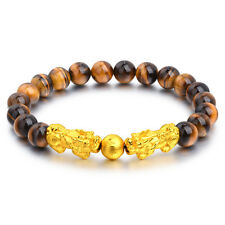 New Pure 24K Yellow Gold 3D Pixiu Bead with 8mm Tiger eyes' Bead Bracelet