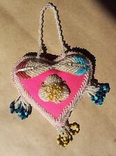 "Antique Native American Mohawk Iroquois RaisedBeadwork Heart Pincushion 6.25""x5"""