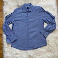 Hugo Boss Mens Button Down Dress Shirt Blue Point Collar Size XL Long Sleeves