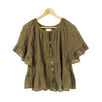 J Jill Peasant Top Shirt Blouse Green XS Petite Embroidered Tassel Cotton Button