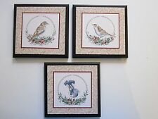 Birds Wall Decor Plaques, 3 Handcrafted Signs, Bird Pictures blue beige
