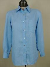 David N Women's LINEN Shirt Blue Button Down Long Sleeve SIZE S