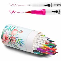 60 Color Dual Tip Brush Markers Pen Set Art Paint Brush Fineliners Watercolor