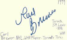 Carl Brewer Toronto St. Louis Nhl Hockey Autographed Signed Index Card Jsa Coa