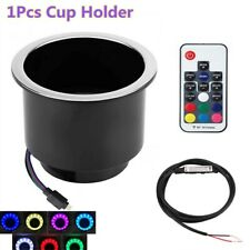 Blk Plastic 14LED Stainless Steel Cup Drink Holder+Remote For Marine Boat Truck