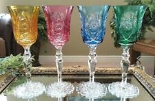 Set of (4) European Fancy Multi Color Cut to Clear Crystal Wine Water Goblets