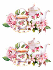 Painted Shabby Roses Tea Set Teacup Furniture Transfers Waterslide Decals Mis670