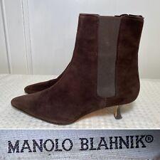 MANOLO BLAHNIK Size 39 US 9 Dark Brown Suede Kitten-Heel Chelsea Ankle Boots