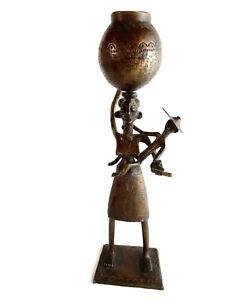 Vintage Bronze Tribal African Statue Mother Child Sculpture Maternal Fertility