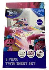 New Trolls World Tour Sheet 3 Piece Twin Sheet Set Kids Bedding Microfiber