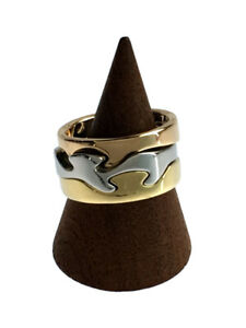 Georg Jensen ring K18 Three color Stacking ring 55 US size 8.5 Auth