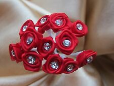 72 Red Diamante Ribbon Roses For Wedding Flowers Bouquet Buttonholes Corsages