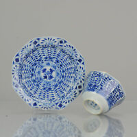 Antique Kangxi Revival 19th c Blue and white Tea Bowl flower Chinese China Po...
