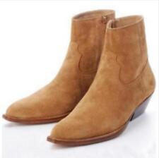 Mens Chelsea Real Suede Leather High Top Ankle Boots Cuban Heel Chelsea Shoes SZ