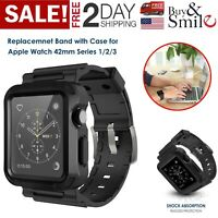 iWatch Strap Band & Screen Protector Case For Apple Watch 42mm Series1/2/3 Black