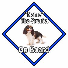 Personalised Dog On Board Car Safety Sign - King Charles Spaniel On Board Blue