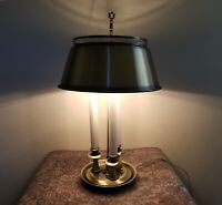 Vintage French Frederick Brass Bouillotte Candlestick 3-way Lamp w/ Metal Shade