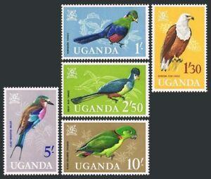 Uganda 105-109,MNH.Michel 95-99. Arms,Birds 1985.Turaco,Fish eagle,Roller,Love