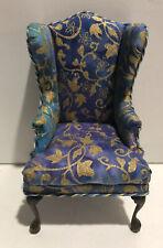 Dollhouse Miniatures Artisan OOAK Silk Wing Chair