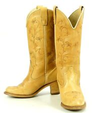 Wolverine Vintage Tan Leather Flower Cowboy Western Boho Boots Heeled Women's 7