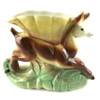 Vintage American Bisque Running Deer Planter Vase Ceramic Pottery 5 inch Tall