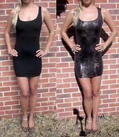 Womens New Mini Vest Dress Bodycon LBD Snakeskin Black Size 8 10 12 14 16 18 20