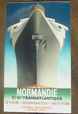 vintage lithograph poster sign advertising SS. Normandie A M Cassandre