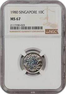 1982 SINGAPORE 10C ONLY 1 GRADED HIGHER!