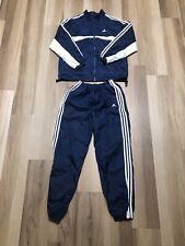 Vintage Adidas Windbreaker Track Suit Jacket & Pants Size Medium Navy And White